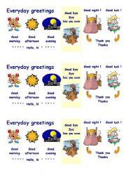 English Worksheet: Everyday greetings