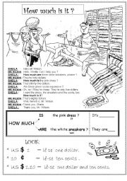 English Worksheets: HOW MUCH IS IT ?  PART 1/3