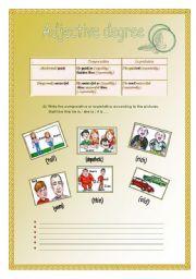 English Worksheet: Adjective degree- (27-07-2008)