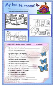 English Worksheets: My house rooms