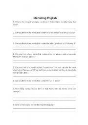 English Worksheets: Interesting English