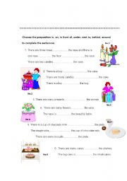 English Worksheet: in, on, in front of, under, next to, behind, around