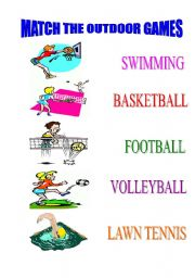 English worksheet: MATCH THE OUTDOOR GAMES