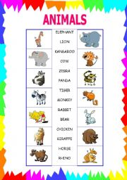 English Worksheets: animal match basic