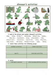 English Worksheets: dinosaur�s activities