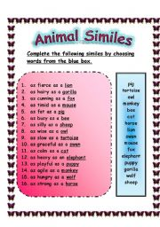 English Worksheets:  ANIMAL SIMILES -  ANSWER SHEET (29.07.2008)