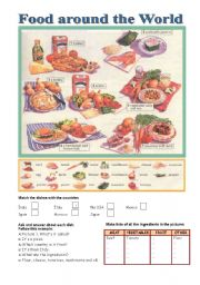 English Worksheet: Food around the World