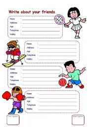 worksheet: write about your friends