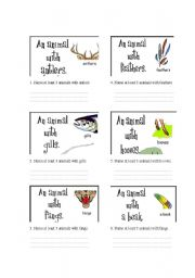 English Worksheets: animals and its features