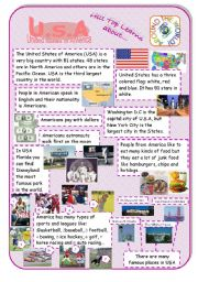 English Worksheet: USA - an introduction to the country