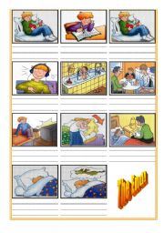 English Worksheets: Daily Routine Cartoon (Part2)