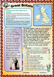 English Worksheet: GREAT BRITAIN. PART 1.  29.07.2008.