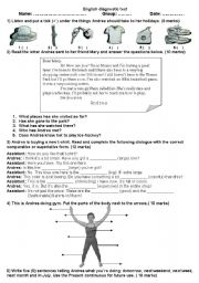 English Worksheet: Diagnostic test