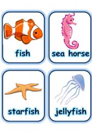 English Worksheets:  FLASHCARD SET 5- SEA ANIMALS AND CREATURES - PART 3 OF 3 (30.07.2008)