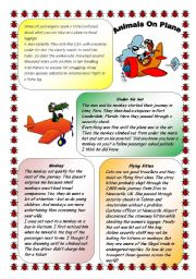 English Worksheets: ANIMALS ON PLANE. 30.07.2008