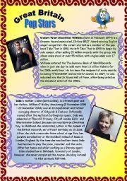 English Worksheet: GREAT BRITAIN. PART 4. POP STARS. 30.07.2008.