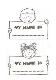 English Worksheet: My name is...