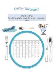 English Worksheet: Cutlery Wordsearch