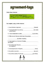 English Worksheets: Agreement-tags