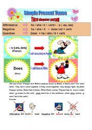English Worksheet: Simple present tense (third singular person) 30.07.2008