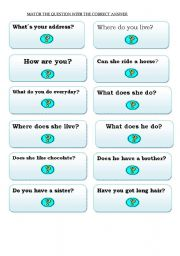 English Worksheets: Cards for elementary level part 2 (questions)