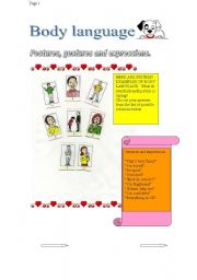 English Worksheets: BODY LANGUAGE-30-07-2008