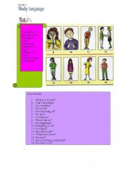 English Worksheets: BODY LANGUAGE-30-07-2008