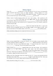 English Worksheet: Britney Spears Autobiography Speaking Dictation