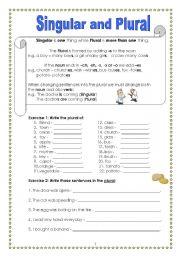 English Worksheet: Singular and Plural (Part 1)