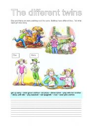 English Worksheets: THE DIFERENT TWINS (31/07)