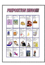 English Worksheets: Preposition BINGO