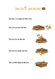English Worksheets: Prepositions - The cat and the box