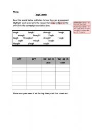english worksheets spelling ough word activity sheet. Black Bedroom Furniture Sets. Home Design Ideas