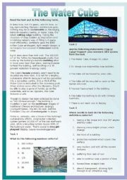 English Worksheet: The Beijing Water Cube