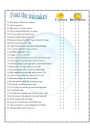 English Worksheets: FIND THE MISTAKES