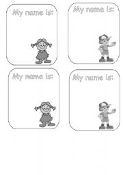 Kids playing tag in black and white name tag black white