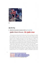 English Worksheets: Spider-Man�s Powers-His Spider-Sense