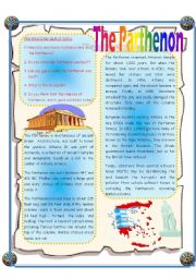 English Worksheets: The Parthenon - Reading Comprehension