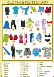 English Worksheet: Clothes Pictionary (1/5) 31-07-08