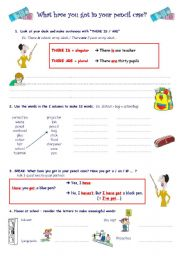 English Worksheet: What have you got in your pencil case?