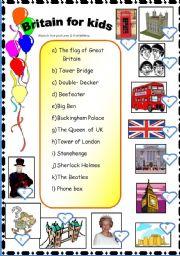 English Worksheet: GRAT BRITAIN FOR KIDS.