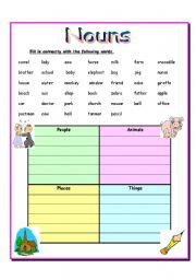 English Worksheets: Nouns 30.07.08