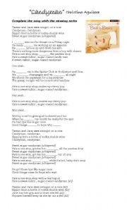 English Worksheet: Christina Aguilera,
