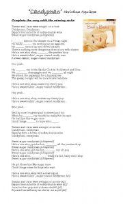 English Worksheets: Christina Aguilera,