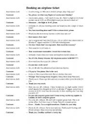 Dialogue for booking an airline ticket - ESL worksheet by