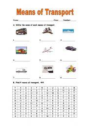 means of transport esl worksheet by manuelanunes3. Black Bedroom Furniture Sets. Home Design Ideas