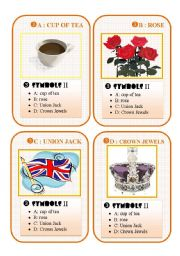 English Worksheet: BRITAIN GO FISH CARD GAME - set 3 symbols II