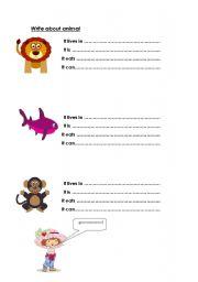 English Worksheets: Write about animal   good work sheet