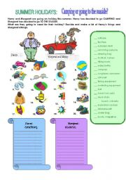 English Worksheet: Camping or seaside?