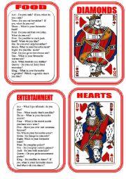 English Worksheet: CARD ONE -CONVERSATION GAME